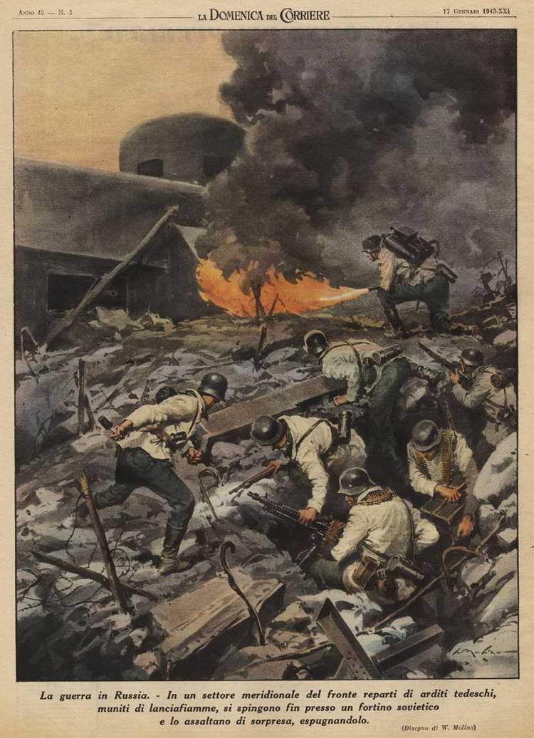 Солдаты немецкого Вермахта штурмуют советский укрепрайон - Walter Molino