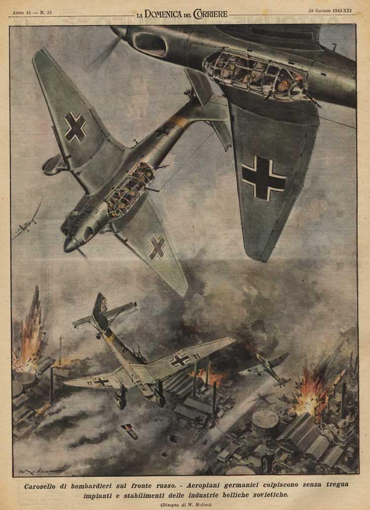Немецкие Юнкерсы бомбят советский промышленный объект - Walter Molino