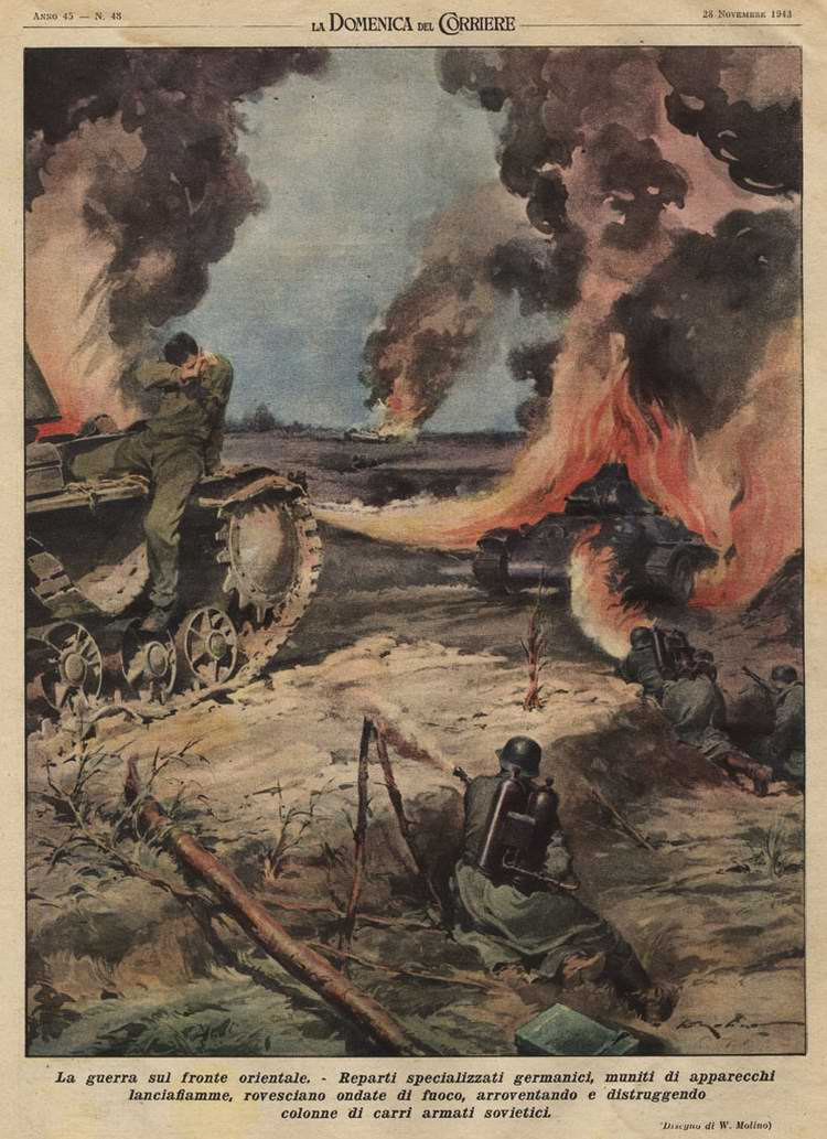 Спецподразделение немецких огнеметчиков сжигает колонну советских танков - Walter Molino