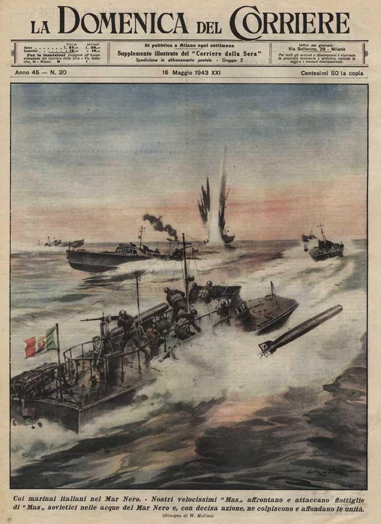 На Черном море - Итальянские торпедные катера уничтожают советские транспортные суда - Walter Molino