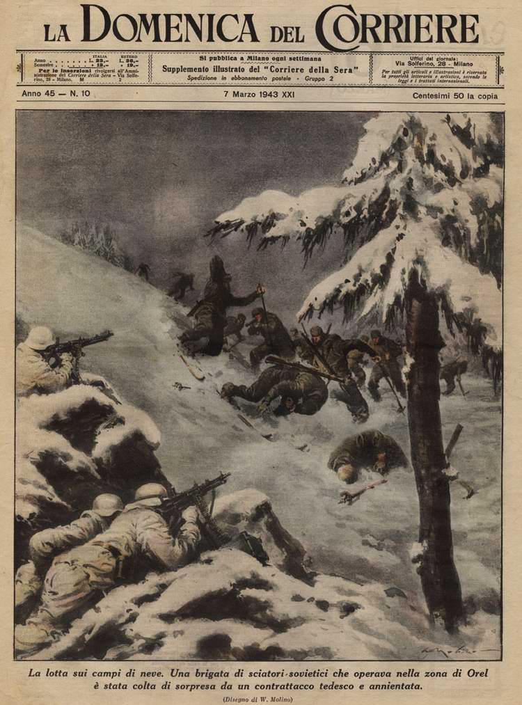 Подразделение немецкого Вермахта контратакует боевую группу советских лыжников под Орлом - Walter Molino