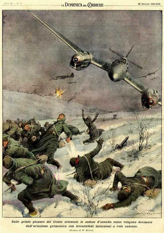 Тяжелые истребители Ме-110 уничтожают походную колонну солдат Красной Армии  - Walter Molino