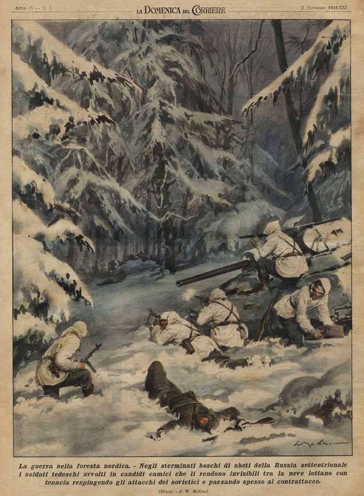 В лесах на севере России - подразделение немецкого Вермахта в засаде - Walter Molino