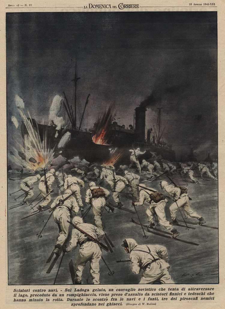 Группы немецких и финских лыжников осуществляют нападение на караван советских транспортных судов на Ладожском озере - Walter Molino