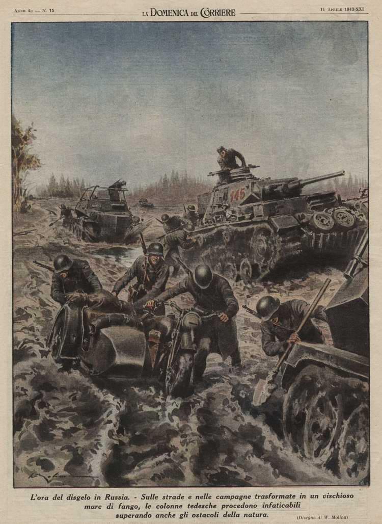 Осенняя распутица - Немецкая военная колонна в условиях российского бездорожья - Walter Molino