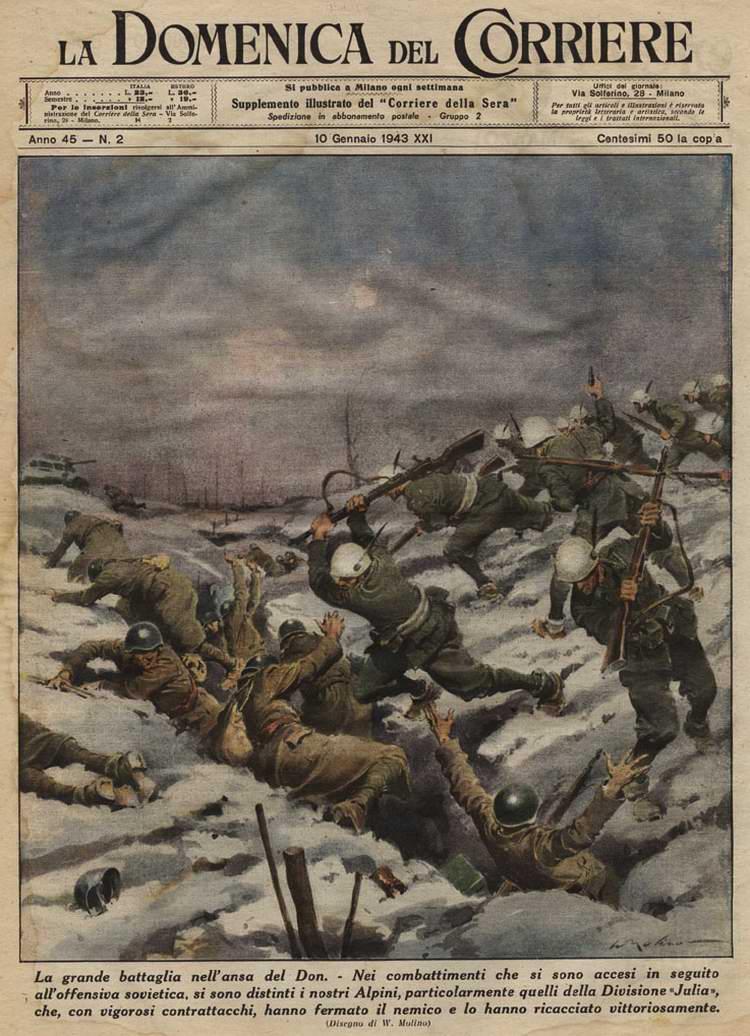 Подразделение итальянских горных стрелков героически атакует советские боевые позиции в излучине Дона - Walter Molino