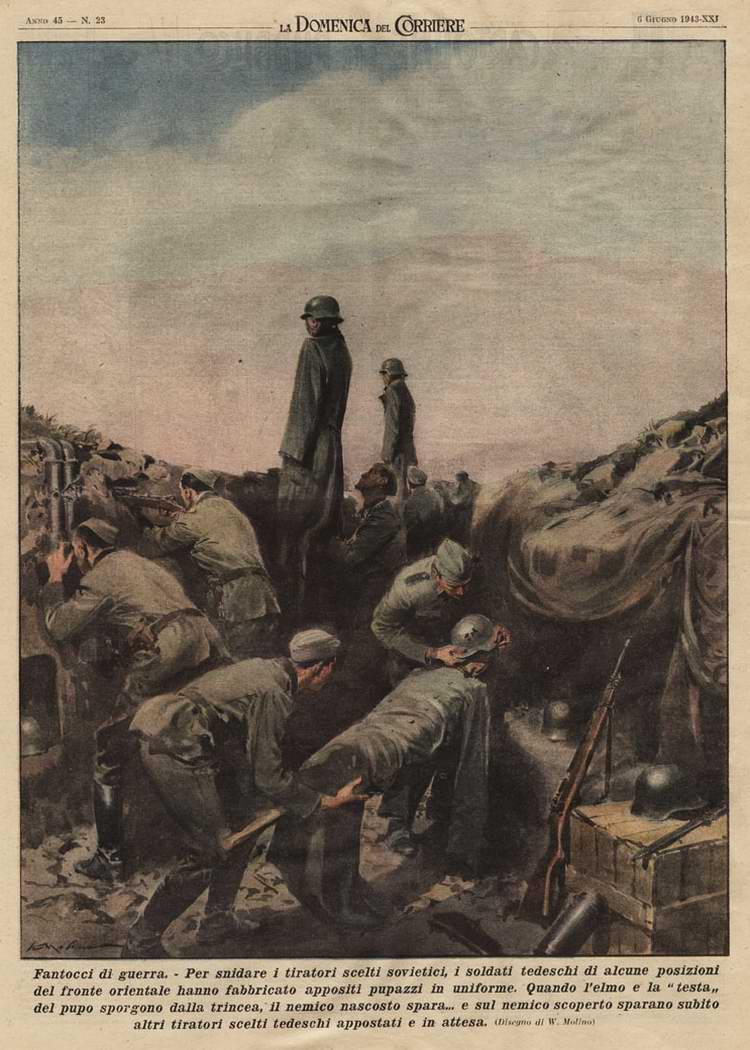 Контрснайперская борьба - немецкие солдаты устанавливают куклы над бруствером своих траншей  - Walter Molino