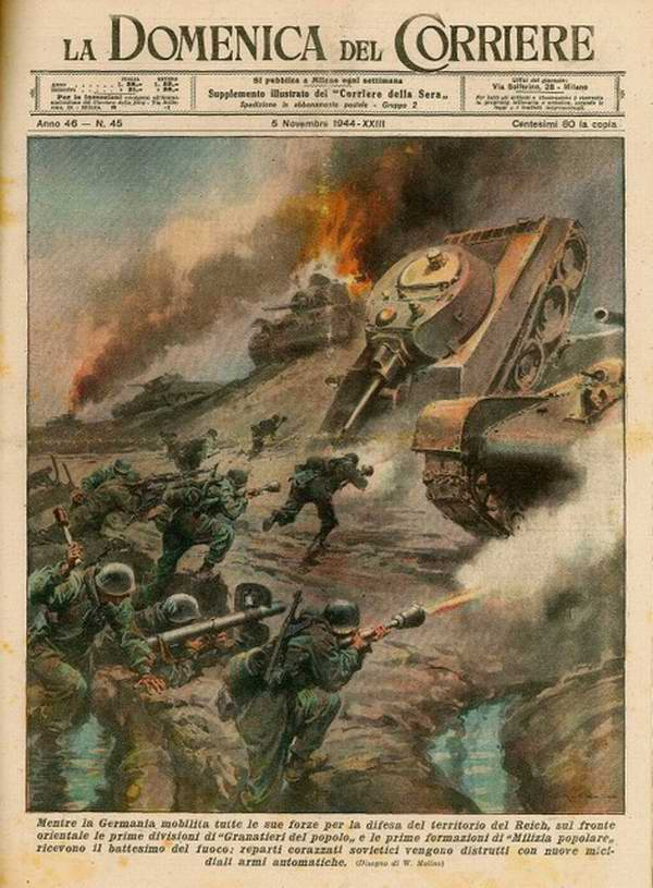 Пока Германия осуществляет мобилизацию всех своих сил для защиты территории рейха, на Восточном фронте ее подразделения Народной гренадерской дивизии и первые формирования Фольксштурма успели получить боевое крещение - Walter Molino