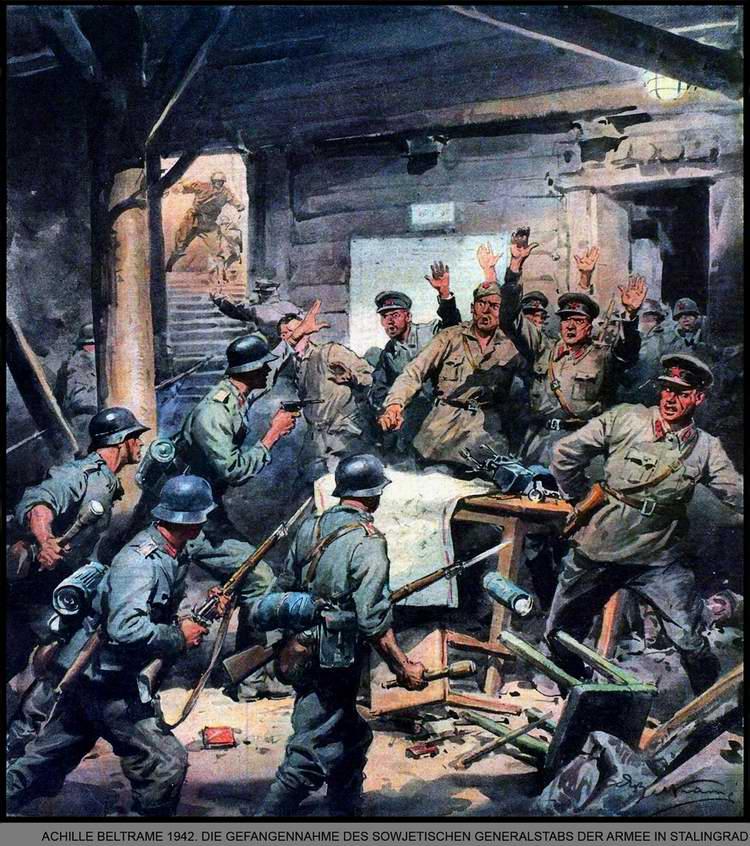 Немецкая штурмовая группа захватывает советский Генеральный штаб в подземных сооружениях Сталинграда - Achille Beltrame