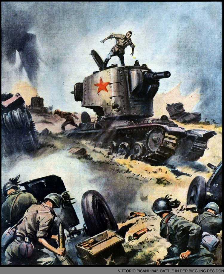 Битва в излучине Дона - Итальянские артиллеристы самоотверженно отражают атаку советских тяжелых танков - Vittirio Pisani