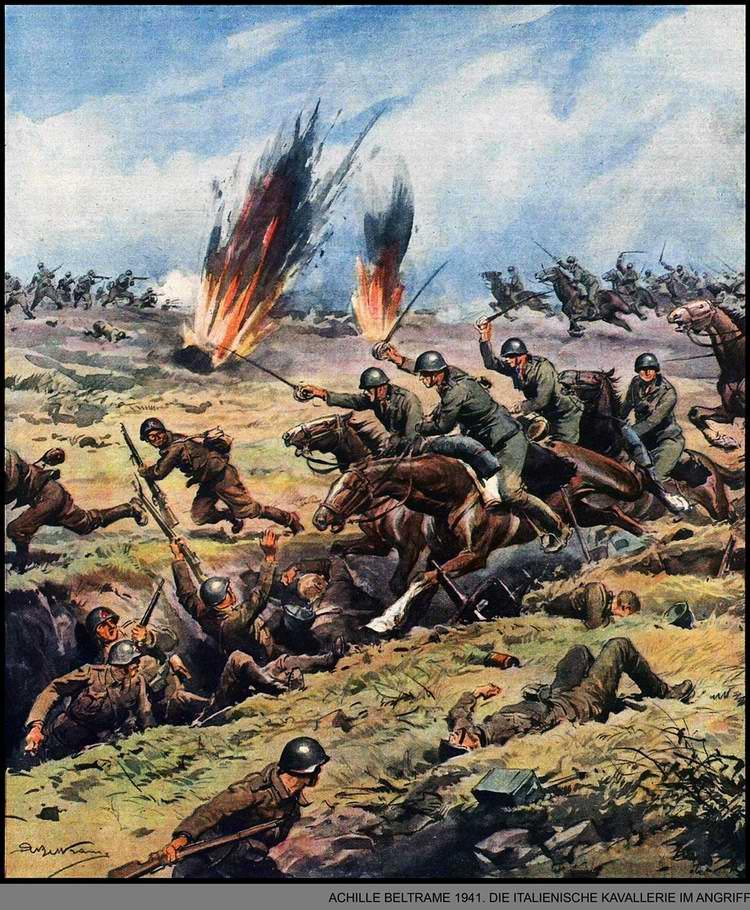 Итальянские кавалеристы идут в наступление - Achille Beltrame