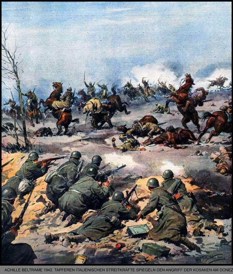 Итальянские солдаты храбро отражают атаку конного подразделения Красной Армии на реке Северский Донец - Achille Beltrame