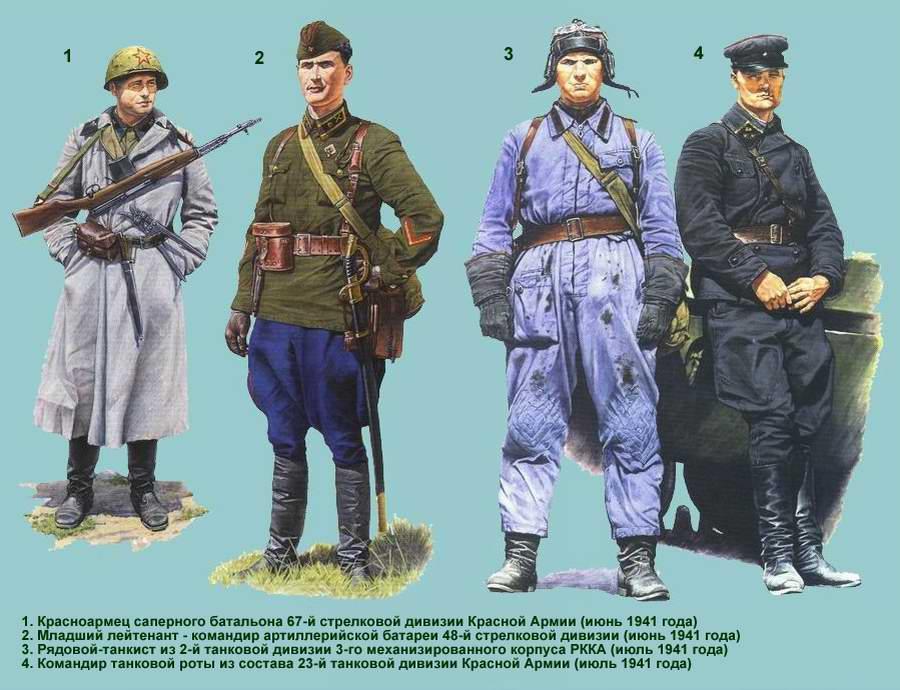 Униформа Рабоче-крестьянской Красной армии: танковые, автомобильные и стрелковые подразделения (лето - осень 1941 года)
