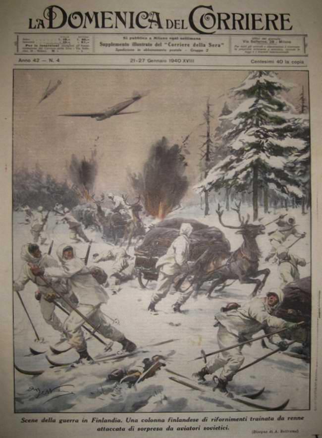 Советские самолеты бомбят финский обоз - Achille Beltrame