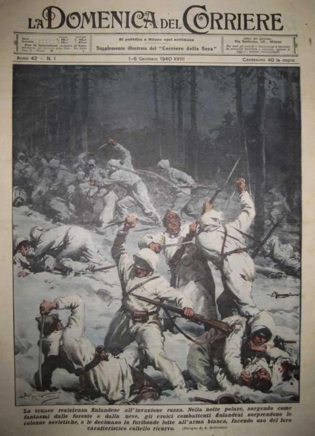 Специальные отряды финских солдат осуществляют бесшумное нападение на колонну войск Красной Армии с применением штыков и ножей - Achille Beltrame