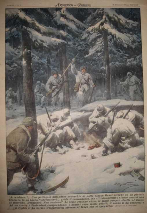 Финский отряд натыкается на до смерти заледеневшую группу солдат Красной Армии - Achille Beltrame