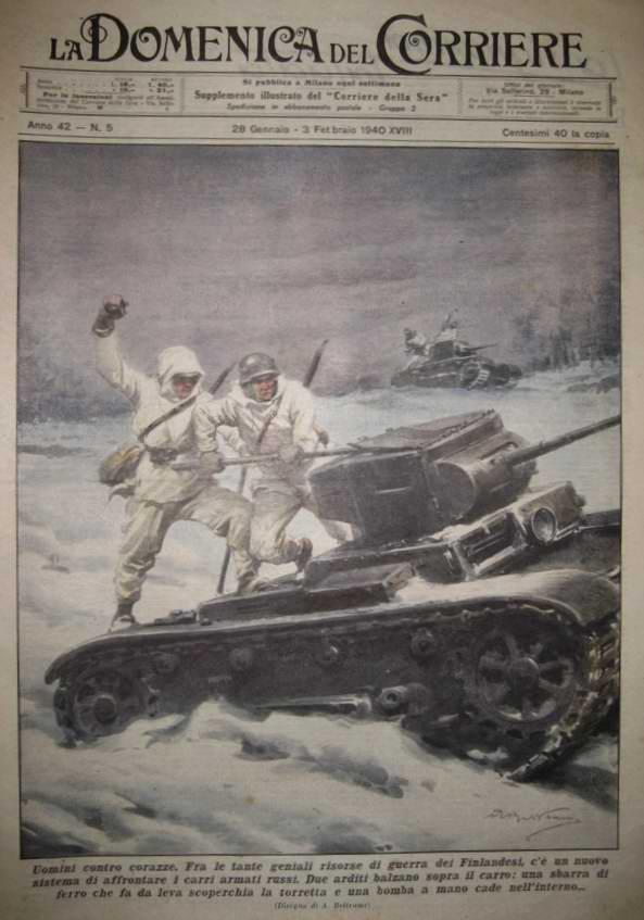 Новая система борьбы с русскими танками - Финские солдаты проявляют воинскую смекалку в деле их уничтожения при помощи подручных средств и ручных гранат  - Achille Beltrame