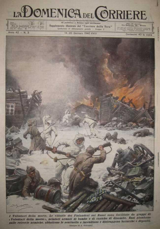 Группа финских воинов-добровольцев осуществляет неожиданное нападение на тыловой склад Красной Армии с целью его полного уничтожения - Achille Beltrame