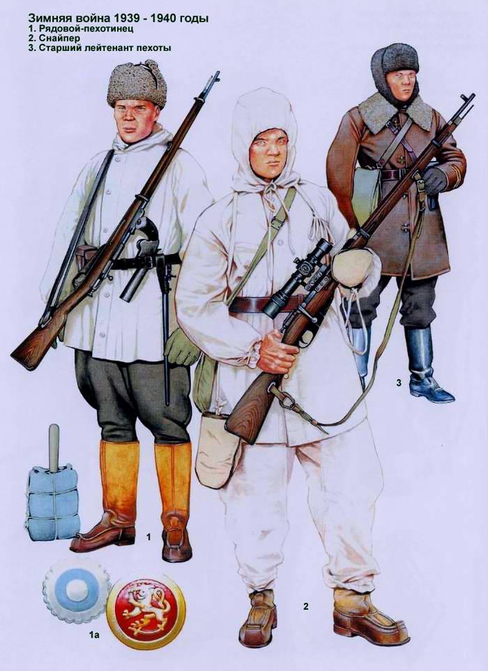 Солдаты и офицеры Финской армии - зимняя форма одежды 1939 - 1940