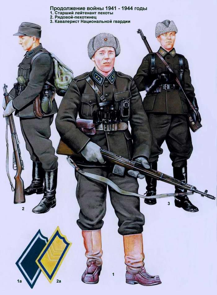 Солдаты и офицеры Финской армии - зимняя форма одежды 1941 - 1944
