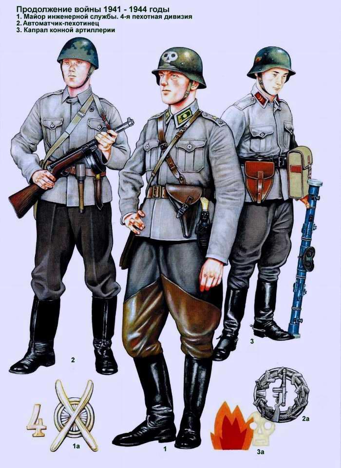 Солдаты и офицеры Финской армии - летняя форма одежды 1941 - 1944
