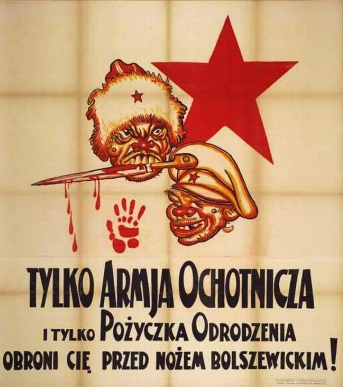 Только добровольная армия и займ возрождения позволят нам защититься от ножа большевизма (Arthur Szyk)