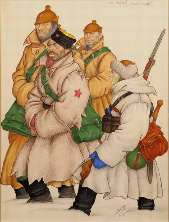 Современная Калевала (Группа красных латышских стрелков) - Arthur Szyk