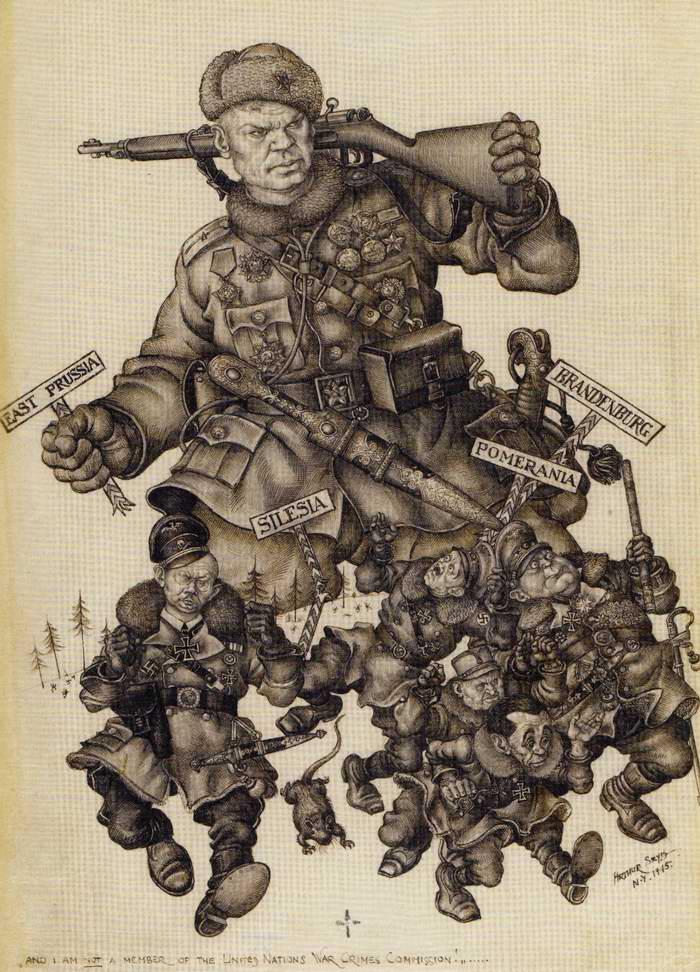 Советский солдат гонит фашистов на Запад (Arthur Szyk)