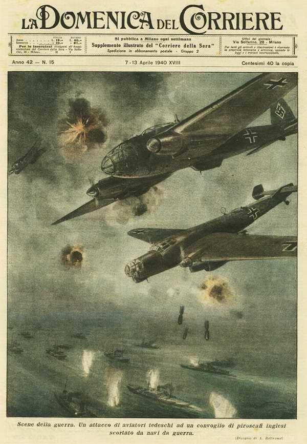 Немецкие летчики атакуют караван грузовых судов, сопровождаемых кораблями Британского флота - Achille Beltrame