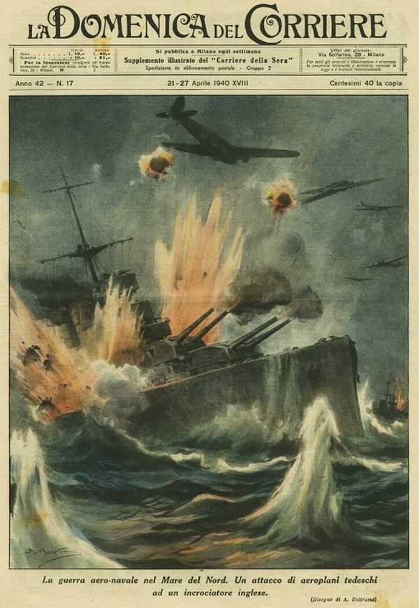 Война в Северном море - самолеты Люфтваффе атакуют британский крейсер - Achille Beltrame