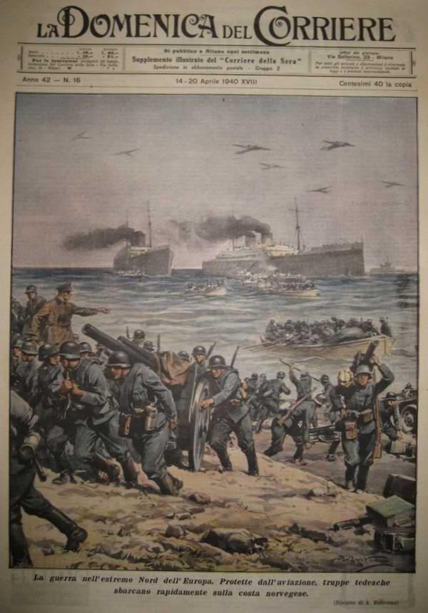 Война на севере Европы - группировка сил Германской армии высаживается на побережье Норвегии - Achille Beltrame