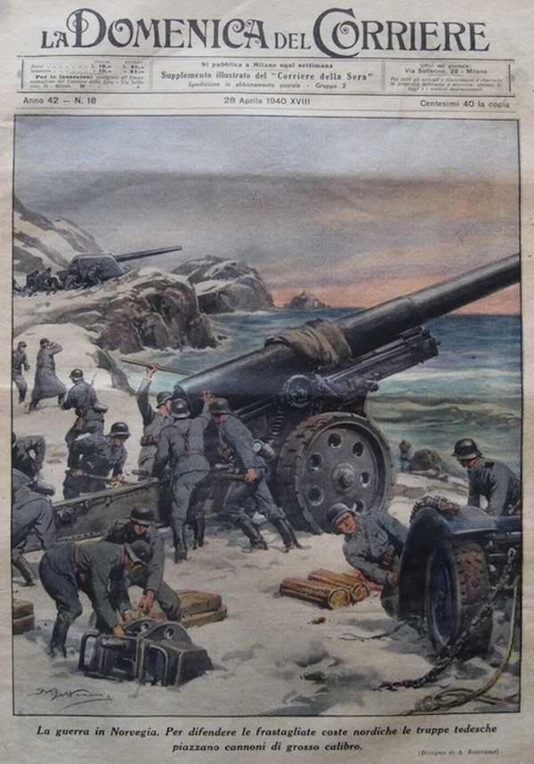 Война в Норвегии - для обеспечения надежной защиты побережья немецкие артиллеристы разворачивают орудия крупного калибра - Achille Beltrame