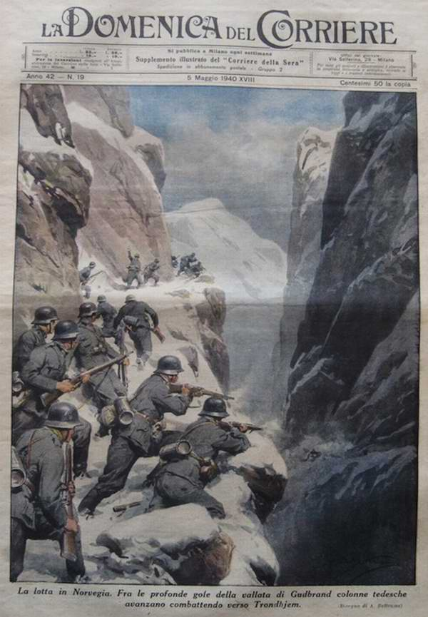 Колонна немецких войск движется по узкому горному ущелью в направлении норвежского города Тронхейма - Achille Beltrame