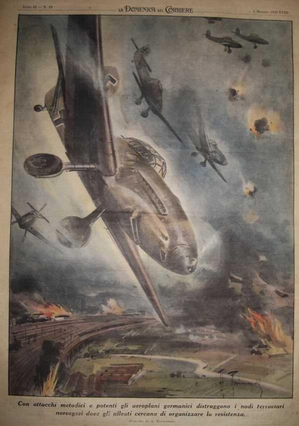 Немецкие летчики занимаются уничтожением очагов активного сопротивления норвежских войск и десантных групп их англо-французских союзников - Achille Beltrame