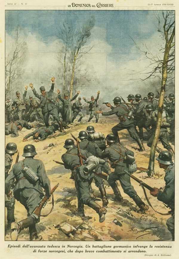 Эпизод немецкого наступления в Норвегии. Силы норвежского сопротивления после непродолжительного боя массово сдаются в плен - Achille Beltrame