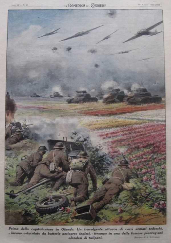 Незадолго до капитуляции Голландии. Посреди тюльпановых полей батарея британской артиллерии пытается противостоять наступлению армады немецких танков - Achille Beltrame