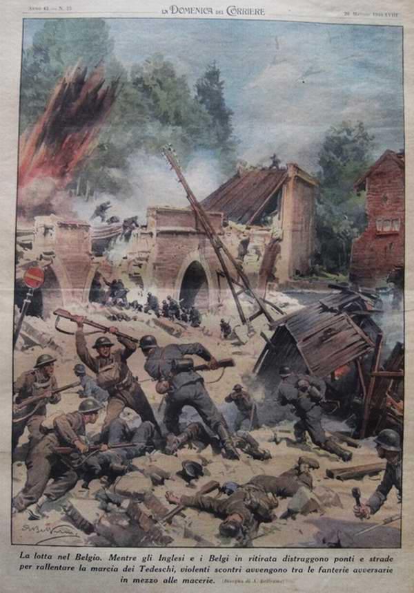 Сражения в Бельгии. Из-за того что отступающие англичане занимаются уничтожением дорог и мостов, солдатам противоборствующих сторон приходится сражаться посреди руин - Achille Beltrame