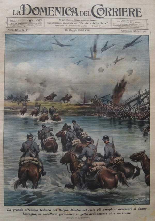 Немецкое наступление в Бельгии. В то время как германские самолеты обеспечивают превосходство в воздухе, кавалерия стремительно переправляется через реку - Achille Beltrame