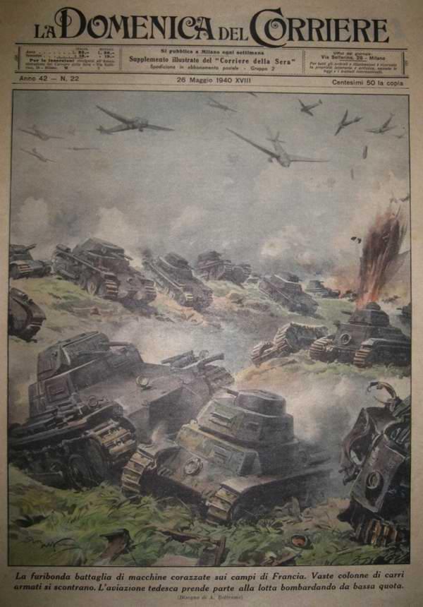 Яростное танковое сражение на территории Франции. Немецкие танки при поддержке своей авиации опрокидывают обороняющихся французов - Achille Beltrame