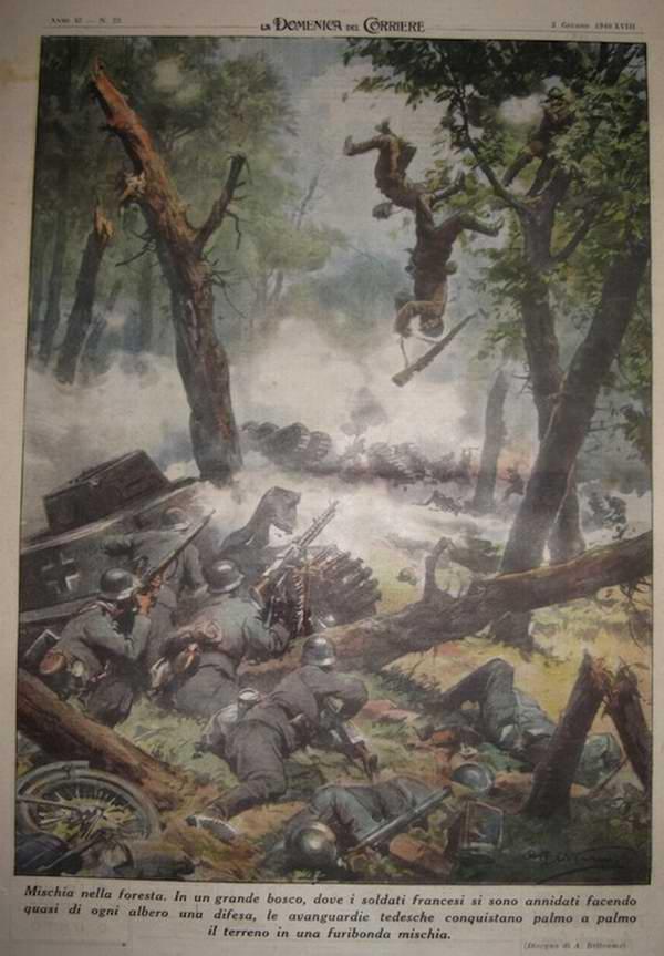 В французском лесу. Немецкие авангарды шаг за шагом уничтожают французских стрелков, которые пытаются маскироваться посреди листвы на ветвях деревьев - Achille Beltrame