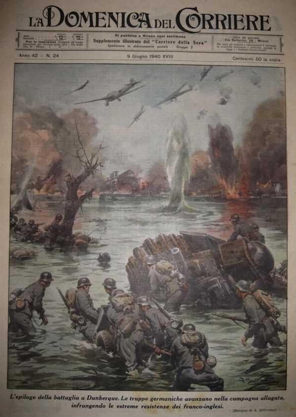 Завершающий момент сражения при Дюнкерке. Немецкие солдаты преодолевают затопленные участки местности в целях принуждения англичан и французов к прекращению сопротивления - Achille Beltrame