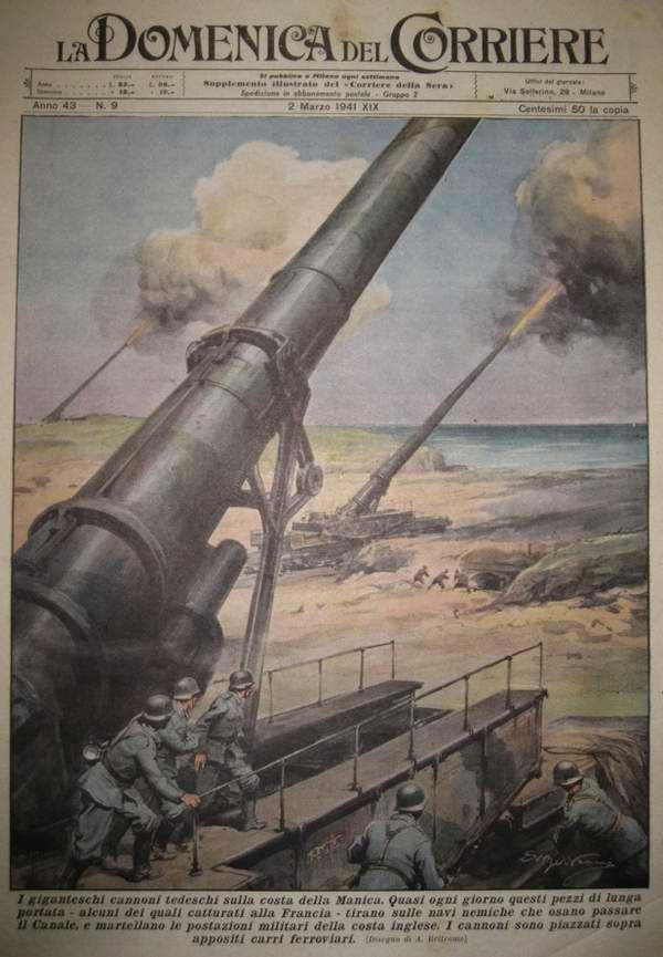 Батарея немецких сверхтяжелых артиллерийских орудий Дора ведет обстрел территории Великобритании через пролив Ла-Манш - Achille Beltrame