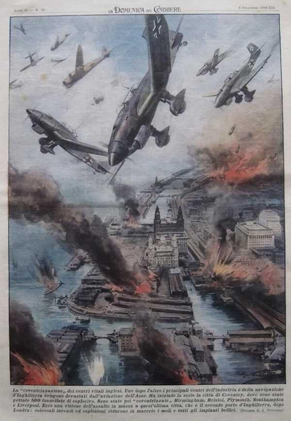 Самолеты Люфтваффе регулярно бомбят английские морские порты - Achille Beltrame