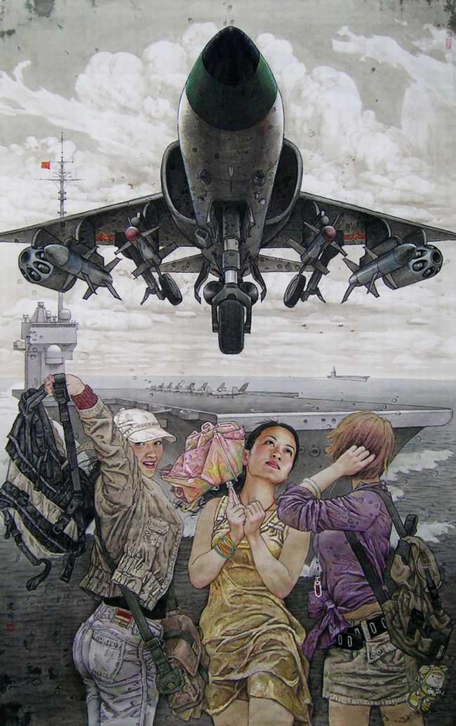 Взлет самолетов Китая времен недалекого будущего (Sang Jianguo)