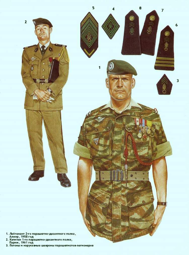 Униформа военнослужащих 1-го и 2-го парашютно-десантных полков Французского иностранного легиона в 1958-61 годах