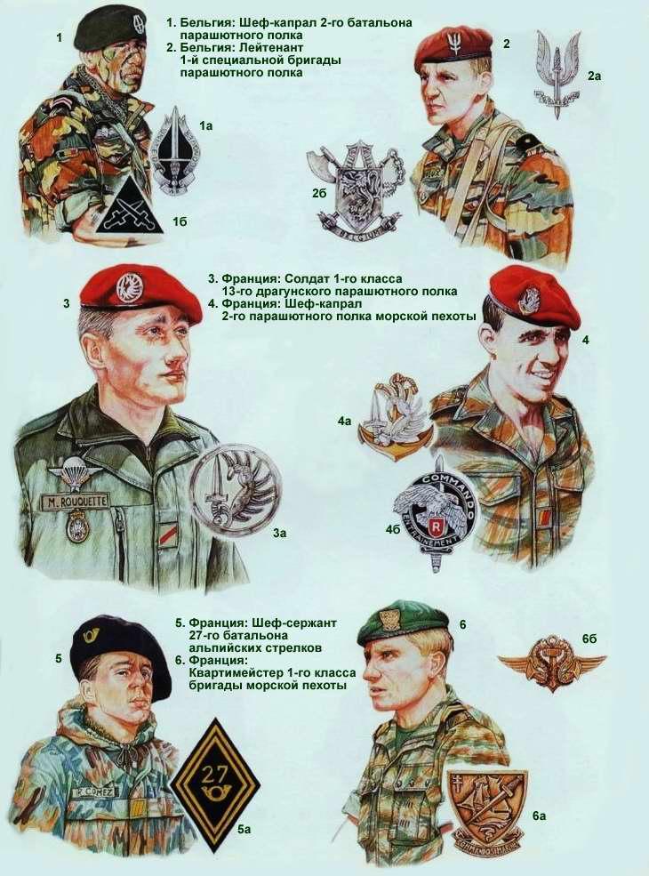 Знаки различия и эмблемы подразделений специального назначения Бельгии и Франции