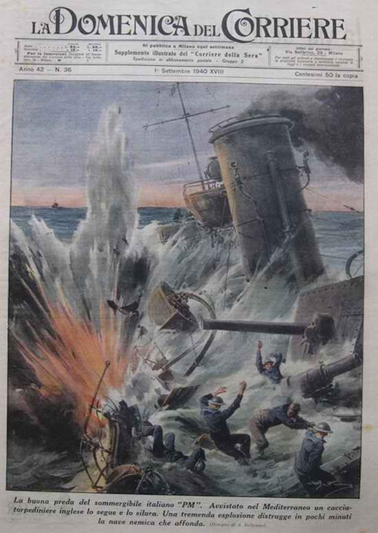 Хорошая добыча итальянских подводников в Средиземном море. В результате попадания торпеды уничтожен британский эсминец - Achille Beltrame