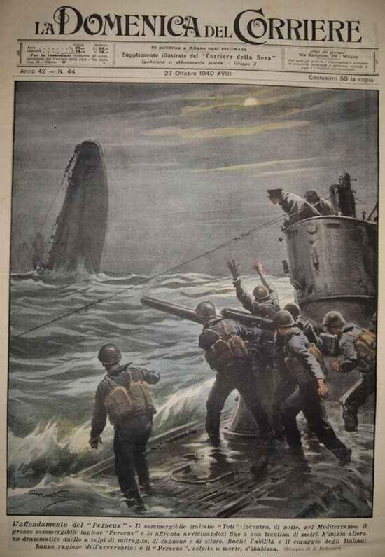 Итальянские подводники топят британское торговое судно Персей - Achille Beltrame