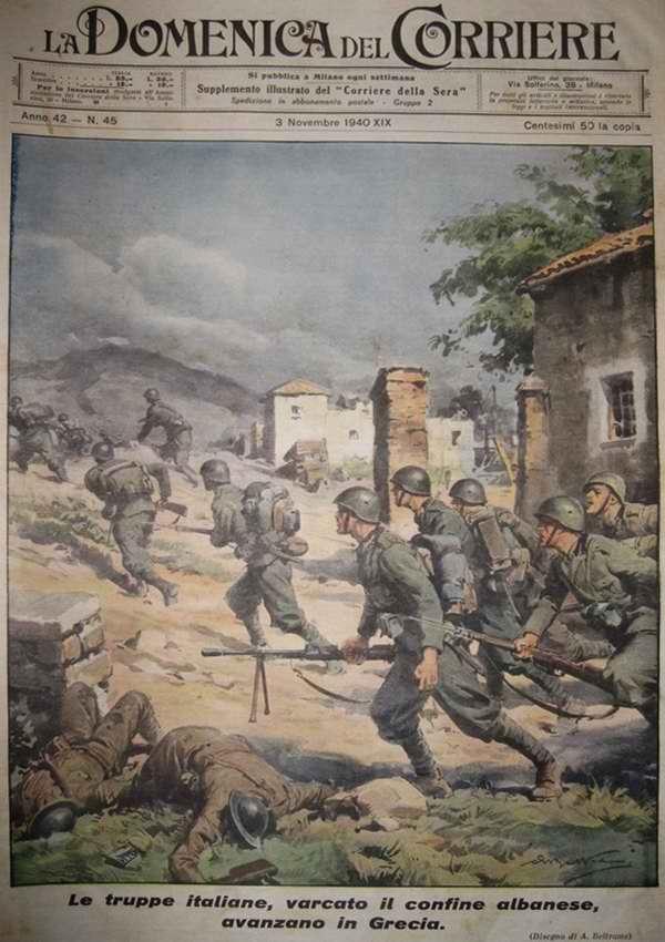 Итальянские войска на пути в Грецию пересекают границу с Албанией - Achille Beltrame