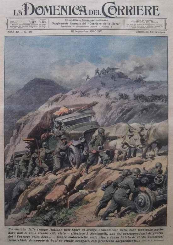 Механизированная колонна итальянских войск медленно движется по извилистой горной дороге - Achille Beltrame